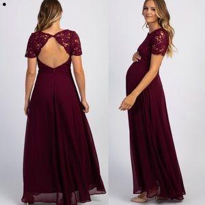 Pinkblush Maroon Crochet Open Back Maternity Dress